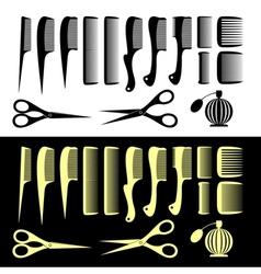 Combs and scissors vector