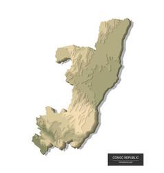 Congo republic map - 3d digital high-altitude vector