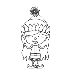 contour with christmas gnome girl vector image