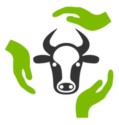 Cow care hands flat icon vector