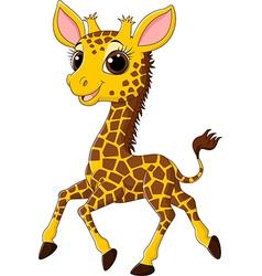 Cute giraffe running isolated on white background vector
