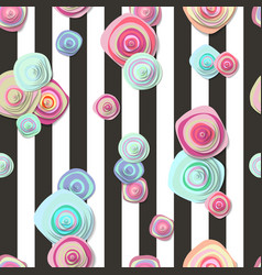 Cute seamless pattern with flowers and stripes vector