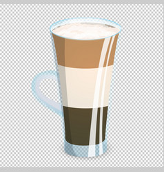 Delicious three layered coffee drink in a vector