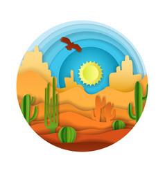 Desert landscape paper art vector