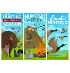 duck bird wild animals hunting banners vector image