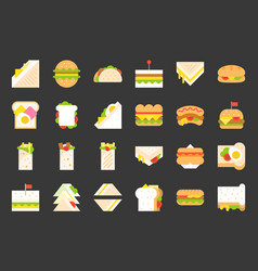 Fast food icon shawarma sandwich hot dog grilled vector