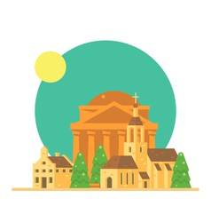 Flat design of Pantheon Italy with village vector