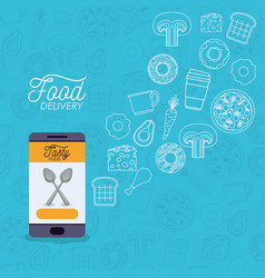 Food delivery poster with foods and smartphone app vector