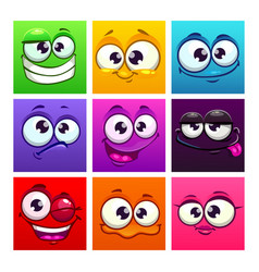 Funny cartoon colorful square emoji faces comic vector