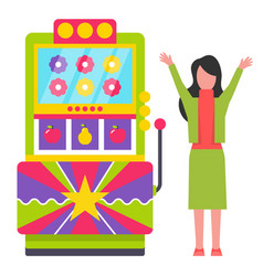 Game machine with flowers signs slots gambling vector