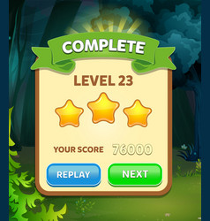 Game ui level complete menu pop up with stars scor vector