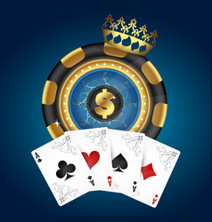 gold chip and playing cards vector image