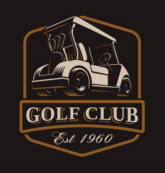 golf cart logo on dark background vector image