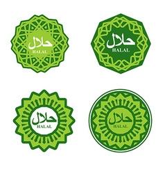 Halal sign Muslim traditional food logo Etiquette vector