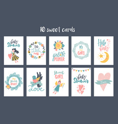 Hand-drawn fairy cards vector