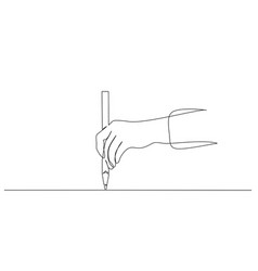 hand holding pen pencil and drawing continuous vector image