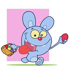 Happy Blue Bunny Rabbit vector image vector image