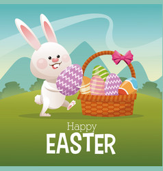 happy easter card bunny collecting egg landscape vector image