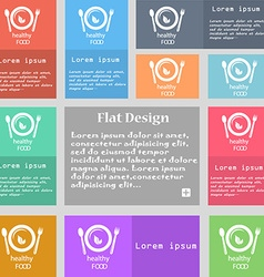 healthy food concept icon sign Set of multicolored vector image