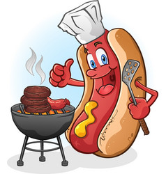 hot dog cartoon grilling on a barbecue vector image