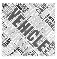 Hybrid vehicles list Word Cloud Concept vector