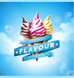 ice cream with delicious dessert and vector image