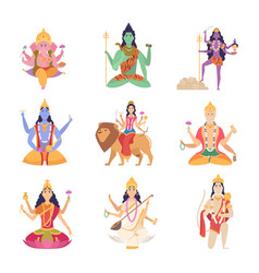 indian characters gods fantasy mascots vector image