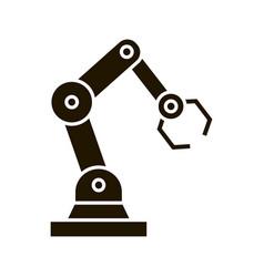 Industrial robotic arm glyph icon vector