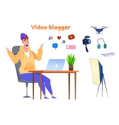 influencer video blogger streamer flat set vector image