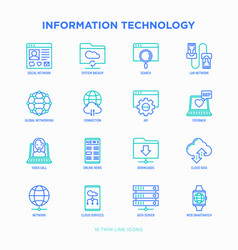 Information technology thin line icons set vector