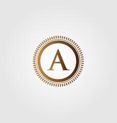 initial letter logo vintage gold design vector image