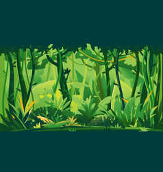 jungle plants topical forest background vector image