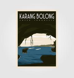 karang bolong beach vintage travel poster design vector image