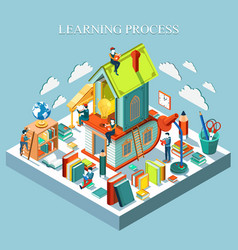 learning process online education isometric vector image