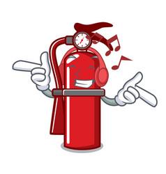 Listening music fire extinguisher mascot cartoon vector