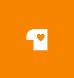 love heart orange white number 1 for company logo vector image
