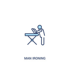 Man ironing concept 2 colored icon simple line vector