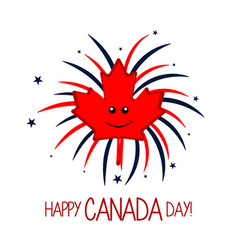 maple leaf and firework explosions canada day vector image