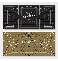 Merry year art deco outline card set vector