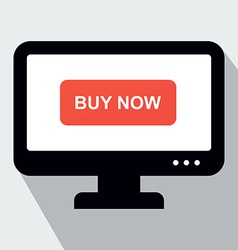 Monitor with Button Buy Now Concept of Online Shop vector