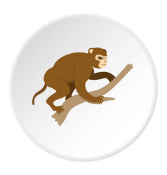 Monkey sitting on a branch icon circle vector