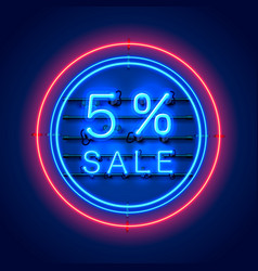 Neon 5 sale text banner night sign vector