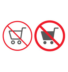 no shopping lineand glyph icon prohibition vector image