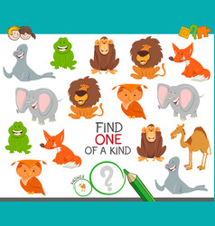 one of a kind game with cartoon animals vector image