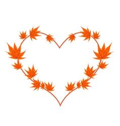 Orange Maple Leaves in A Heart Shape vector