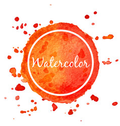 orange watercolor splash circle background vector image