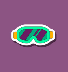 Paper sticker on stylish background ski goggles vector