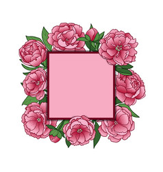 peonies mock up vector image