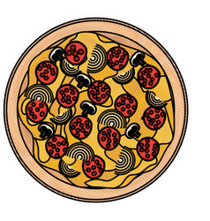 pizza icon in colored crayon silhouette on white vector image