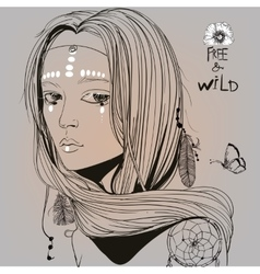 Portrait of beautiful hippie girl vector